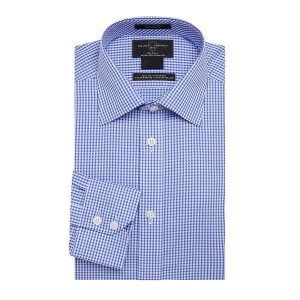 ブラック・ブラウン1826 メンズ シャツ トップス Slim-Fit Gingham-Print Dress Shirt Blue