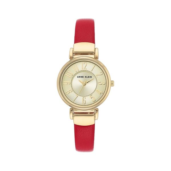 アンクライン レディース 腕時計 アクセサリー Goldtone & Leather-Strap Watch Red