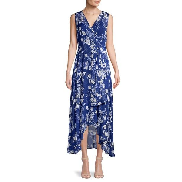 カルバンクライン レディース ワンピース トップス Floral-Print High-Low Faux Wrap Dress Navy