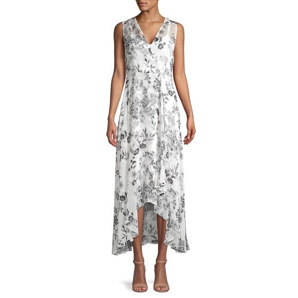 カルバンクライン レディース ワンピース トップス Floral-Print High-Low Faux Wrap Dress Black Cream