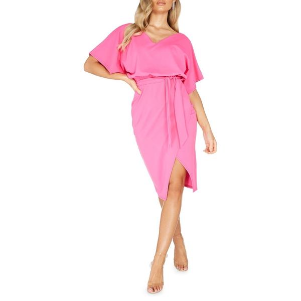 クイズ レディース ワンピース トップス V-Neck Self-Tie Dress Pink