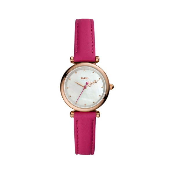 フォッシル レディース 腕時計 アクセサリー Carlie Mini Stainless Steel & Leather-Strap 3-Hand Watch Bright Pink