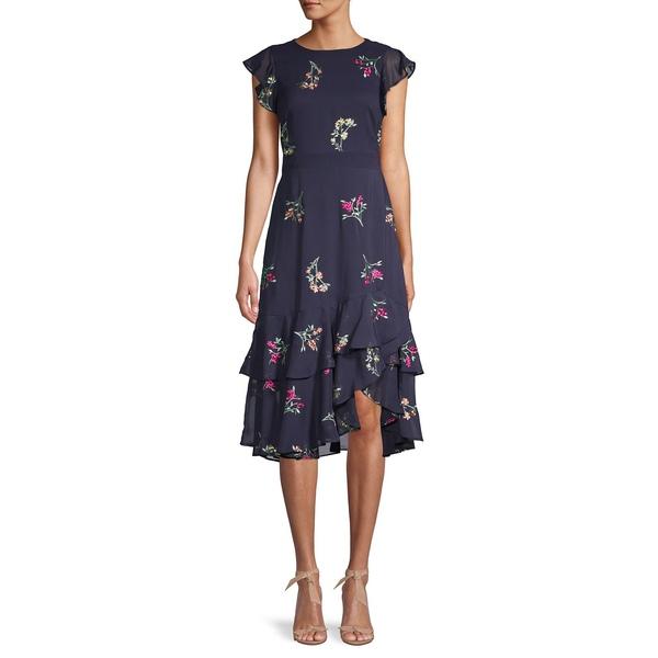 ガビースカイ レディース ワンピース トップス Embroidered High-Low Tiered Dress Navy Multi