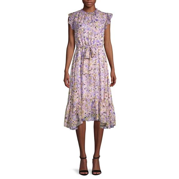 ガビースカイ レディース ワンピース トップス Floral-Print Belted A-Line Dress Lavender