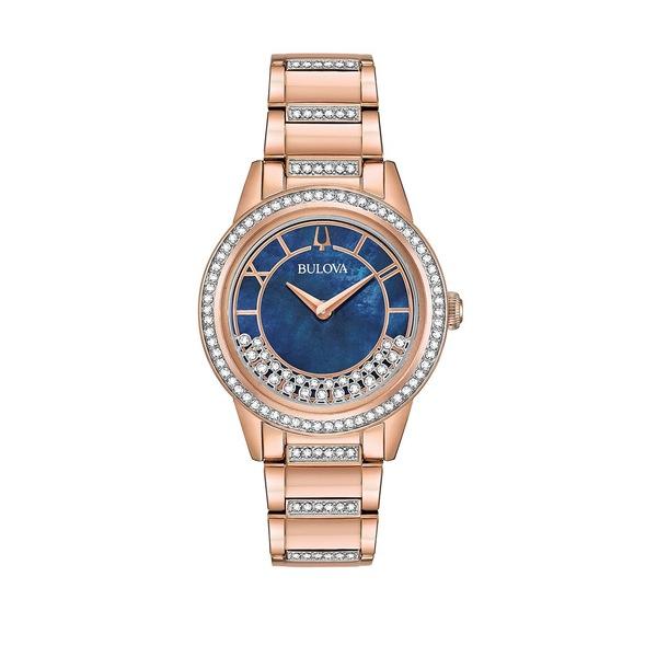 ブロバ レディース 腕時計 アクセサリー Crystals Turnstyle Embellished Rose-Goldtone Bracelet Watch Rose Gold