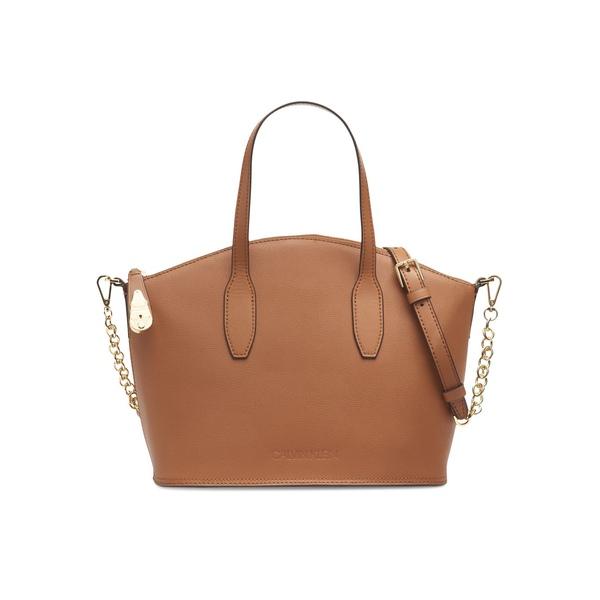 カルバンクライン レディース ショルダーバッグ バッグ Leather Satchel Crossbody Bag Caramel