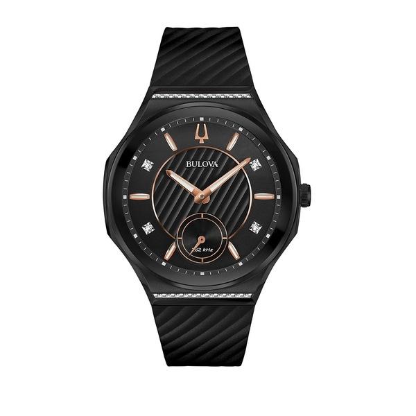 ブロバ レディース 腕時計 アクセサリー Curv Diamond & Black Silicone Strap Watch Black