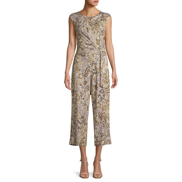 ジョーンズニューヨーク レディース ワンピース トップス Snakeskin-Print Cropped Jumpsuit Animal Print Lace