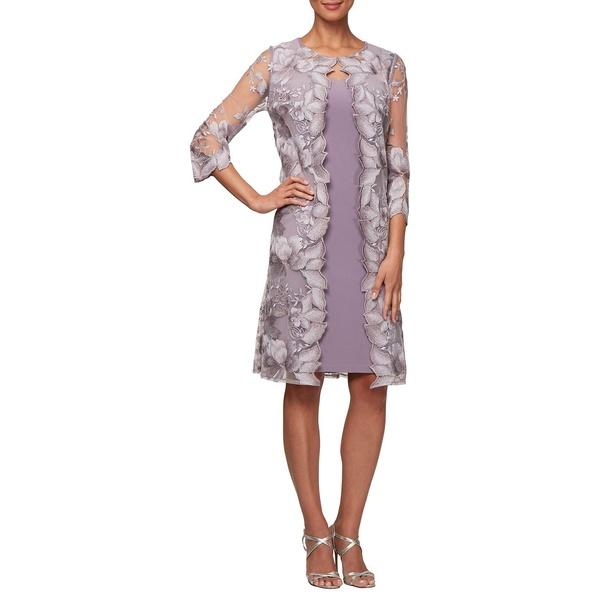 アレックスイブニングス レディース ワンピース トップス Embroidered Lace Knee-Length Jersey Dress Smokey Orchid