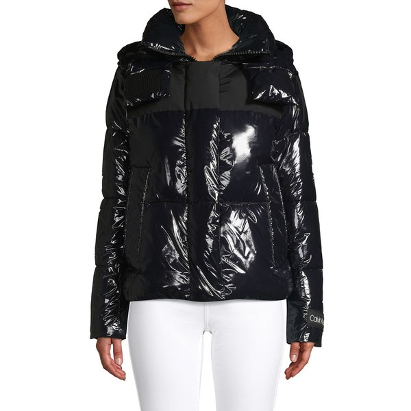 カルバンクライン レディース コート アウター Shiny Faux Leather Puffer Coat Black