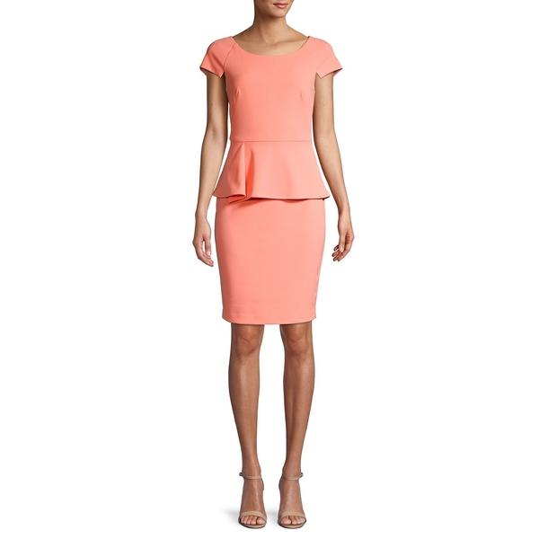 カルバンクライン レディース ワンピース トップス Raglan-Sleeve Peplum Dress Peach