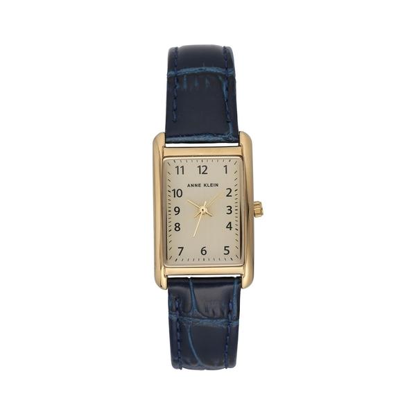 アンクライン レディース 腕時計 アクセサリー Goldtone & Leather-Strap Watch Blue
