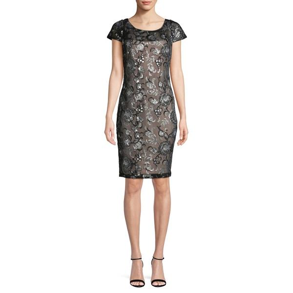 カルバンクライン レディース ワンピース トップス Sequin-Embellished Mini Sheath Dress Black Multi