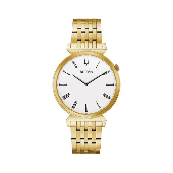 ブロバ メンズ 腕時計 アクセサリー Regatta Goldtone Stainless Steel Bracelet Watch Gold