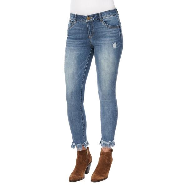 デモクラシー レディース デニムパンツ ボトムス Fringed Cuff Cropped Jeans Blue
