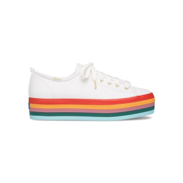 ケッズ レディース スニーカー シューズ Triple Rainbow Leather Platform Sneakers White