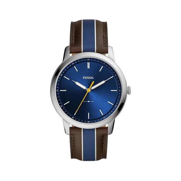 フォッシル レディース 腕時計 アクセサリー Minimalist Stainless Steel & Striped Leather-Strap Watch Brown