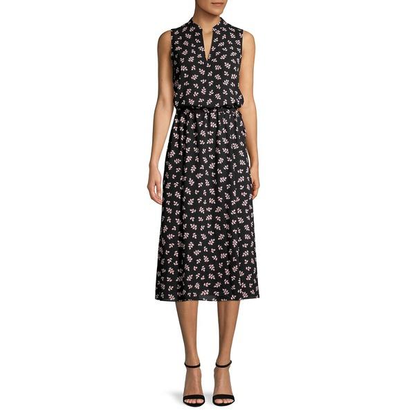 アンクライン レディース ワンピース トップス Ivy-Print Sleeveless Midi Dress Anne Black First Blush
