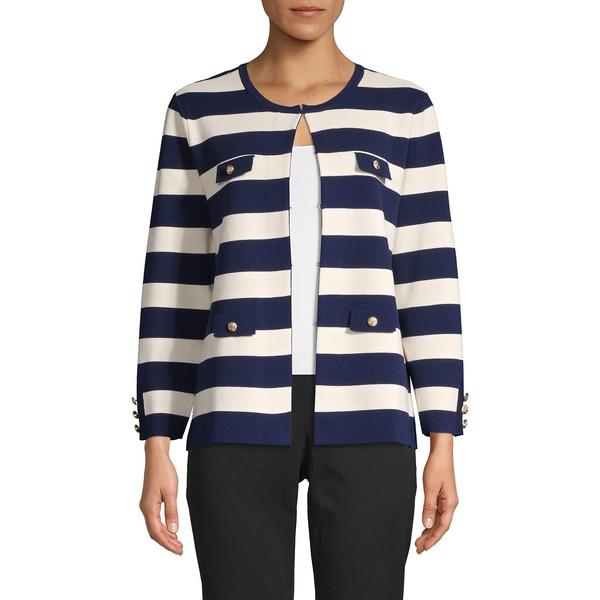 アンクライン レディース ニット&セーター アウター Striped Cotton-Blend Cardigan Distant Mountain White