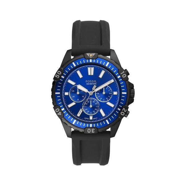 フォッシル メンズ 腕時計 アクセサリー Garrett Stainless Steel & Silicone-Strap Chronograph Watch Black