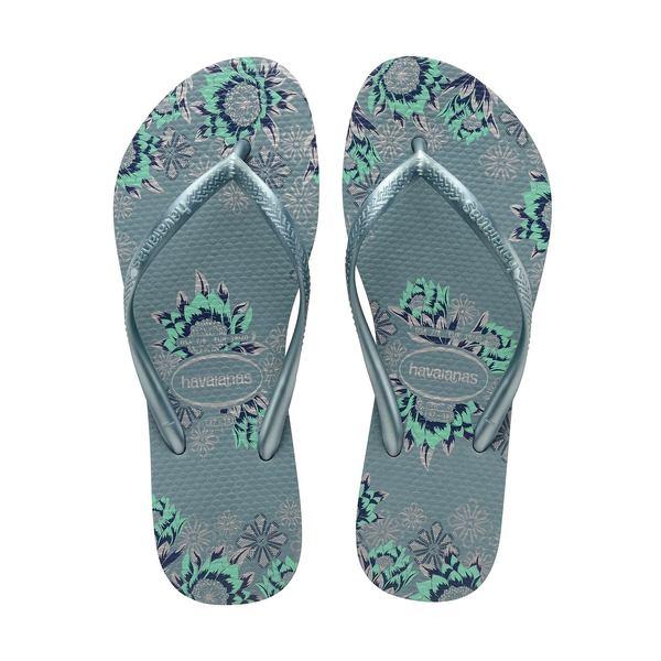 ハワイアナス レディース サンダル シューズ Slim Organic Rubber Thong Sandals Silver Blue