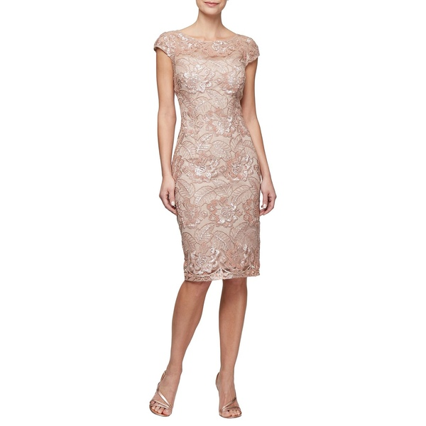 アレックスイブニングス レディース ワンピース トップス Embroidered Cap-Sleeve Sheath Dress Rosegold