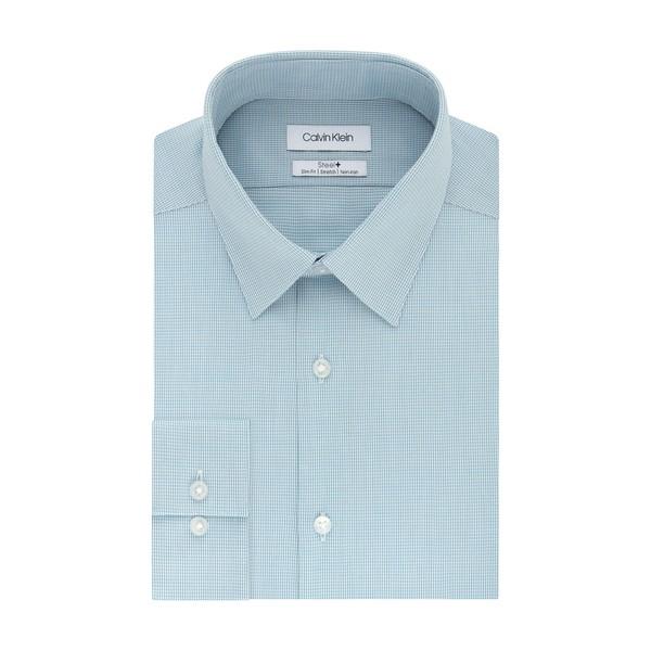 カルバンクライン メンズ シャツ トップス Slim-Fit Textured Dress Shirt Aqua