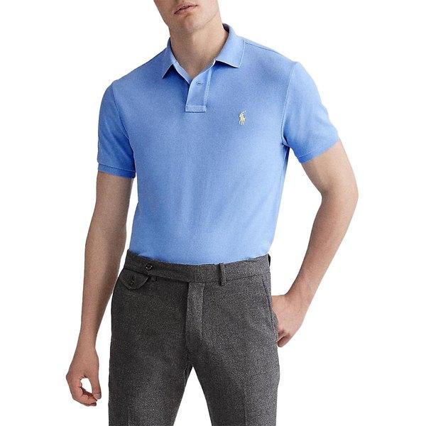 ラルフローレン メンズ シャツ トップス Custom Slim-Fit Cotton Mesh Polo Cabana Blue