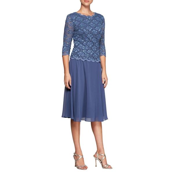 アレックスイブニングス レディース ワンピース トップス Lace Mock A-Line Dress Wedgewood