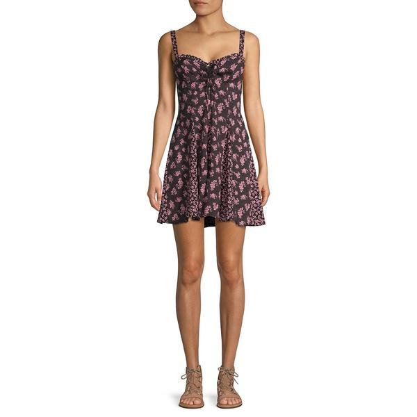 フリーピープル レディース ワンピース トップス Floral-Print Mini Dress Black Combo