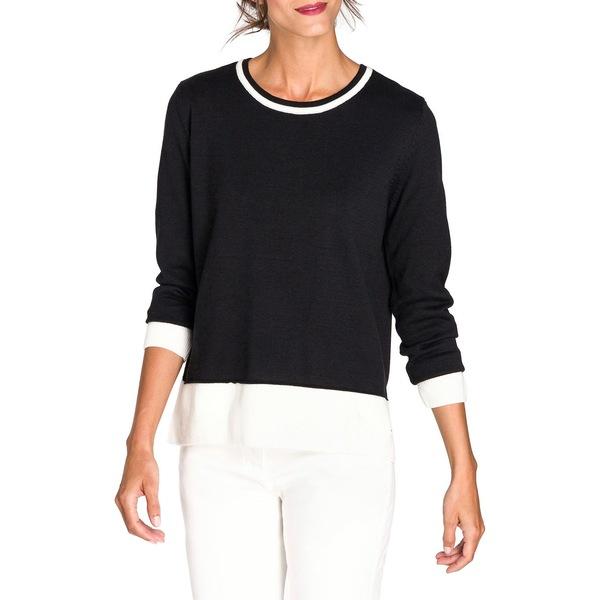 オルセン レディース ニット&セーター アウター New Fusion Cotton-Blend Sweater Black