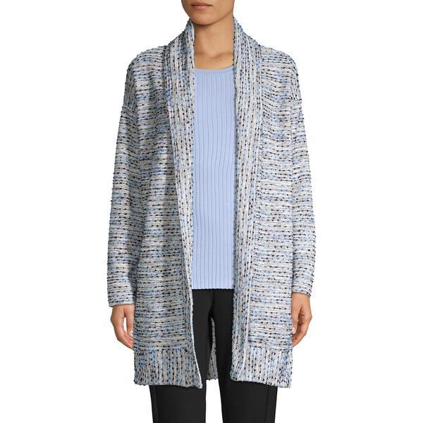 ジョーンズニューヨーク レディース ニット&セーター アウター Textured Striped Cardigan Blue Multi