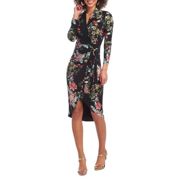ライチェルレイチェルロイ レディース ワンピース トップス Floral-Print Faux Wrap Dress Black Combo