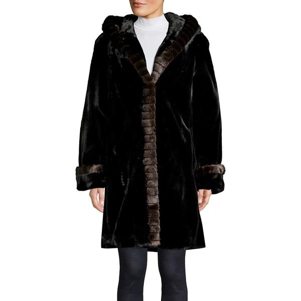 ギャレリ- レディース コート アウター Faux Fur Hooded Coat Black