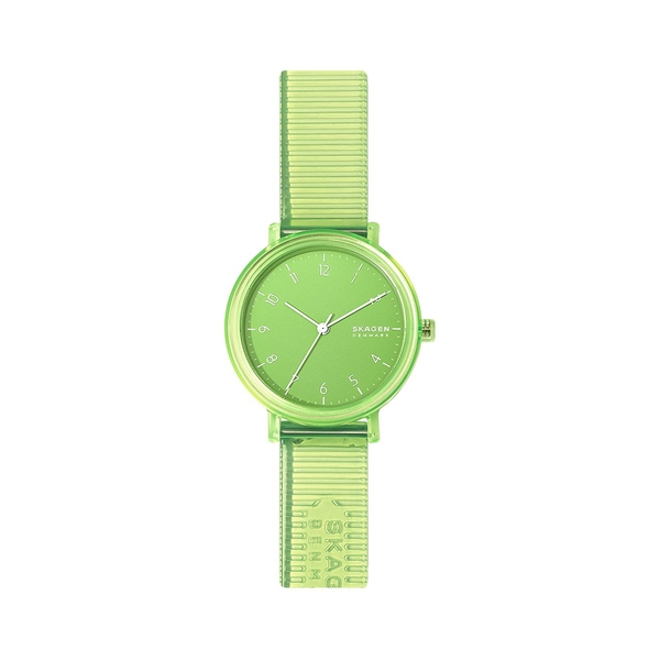 スカーゲン レディース 腕時計 アクセサリー Aaren Transparent Nylon & Faux Leather 3-Hand Watch Green