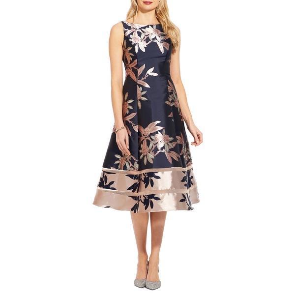 アドリアナ パペル レディース ワンピース トップス Floral Jacquard Dress Navy Blush