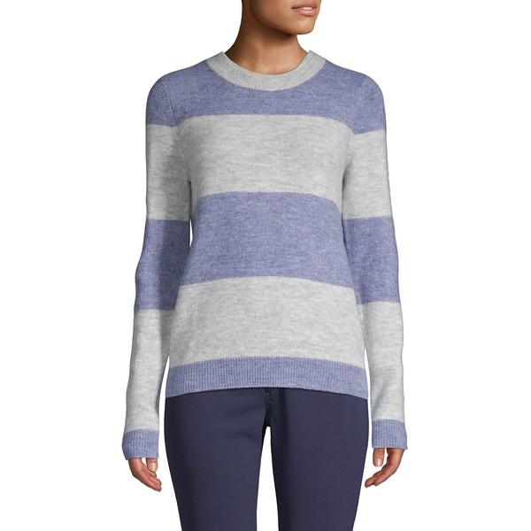 ヴェロモーダ レディース ニット&セーター アウター Striped Long-Sleeve Sweater Light Grey Blue