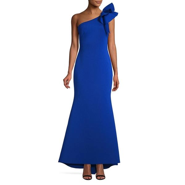 エリザジェイ レディース ワンピース トップス One-Shoulder Scuba Gown Royal