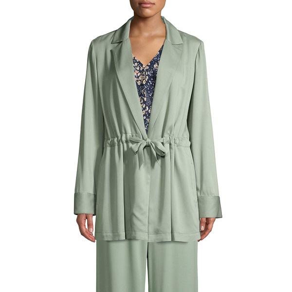 アイザック ミズラヒ レディース コート アウター Long-Sleeve Tie-Front Jacket Lily Pad