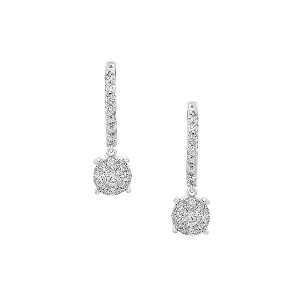 エフィー レディース ピアス&イヤリング アクセサリー 14K White Gold & 0.96 TCW Diamond Hoop Drop Earrings White Gold