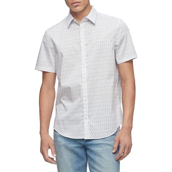 カルバンクライン メンズ シャツ トップス Regular-Fit Geometric-Print Shirt Brilliant White