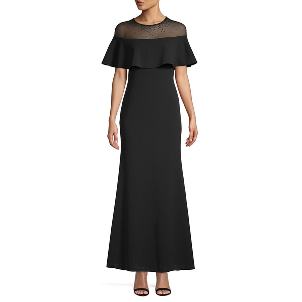 カルバンクライン レディース ワンピース トップス Flutter Sleeve Sheath Gown Black
