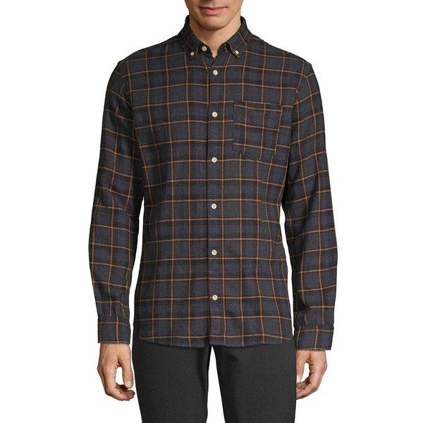 ジャック アンド ジョーンズ メンズ シャツ トップス Windowpane Flannel Long-Sleeve Shirt Grey Melan