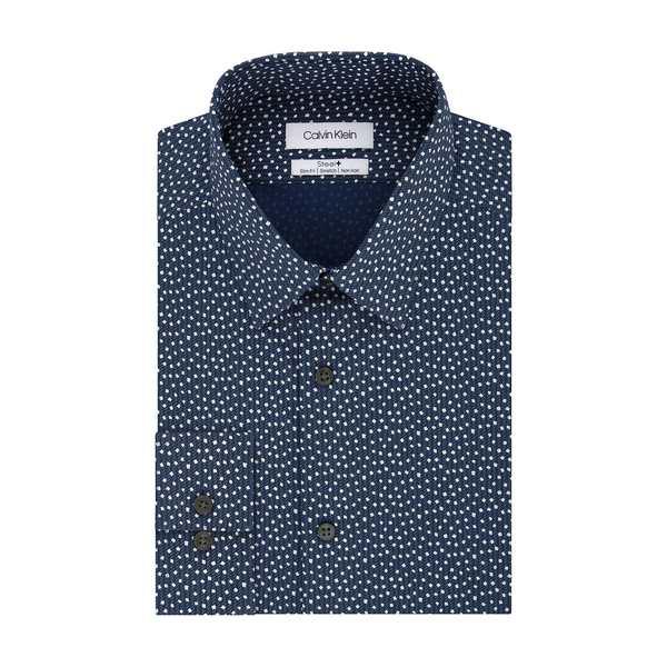 カルバンクライン メンズ シャツ トップス Slim-Fit Confetti-Print Dress Shirt Navy