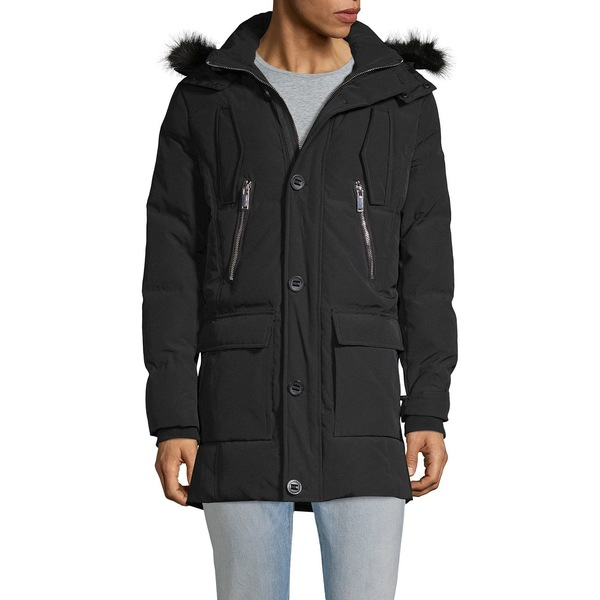 カールラガーフェルド メンズ ジャケット&ブルゾン アウター Faux Fur-Trim Hooded Down Jacket Black