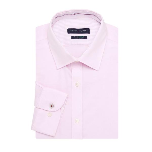 トミー ヒルフィガー メンズ シャツ トップス Spread Collar Dress Shirt Pink