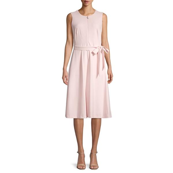 カルバンクライン レディース ワンピース トップス Belted Sleevess Zip-Front Dress Petal