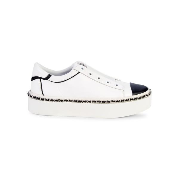 カールラガーフェルド レディース スニーカー シューズ Axelle Leather Slip-On Sneakers Bright White