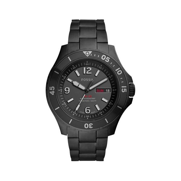 フォッシル メンズ 腕時計 アクセサリー FB-02 Stainless Steel Bracelet 3-Hand Watch Black