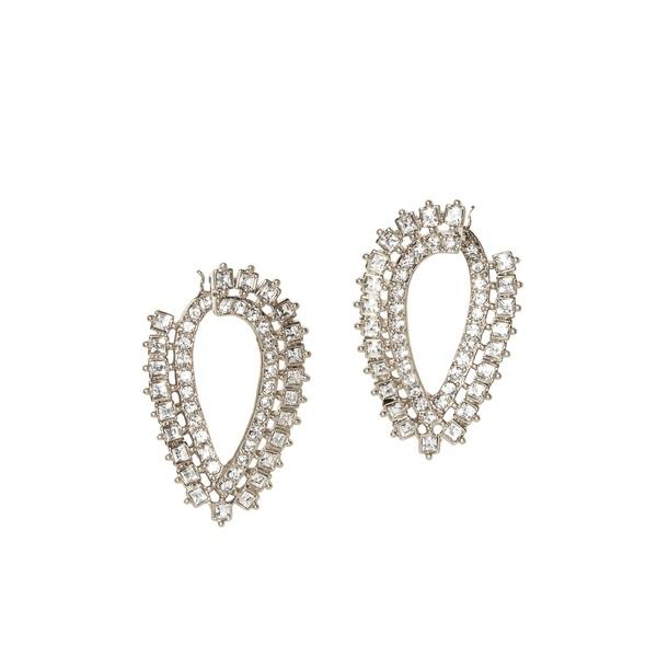 ヴィンスカムート レディース ピアス&イヤリング アクセサリー Silvertone & Crystals Hoop Earrings Silver